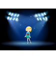 A young actress at the center of the stage vector image vector image