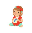 baby girl playing learning game with letter f card vector image vector image