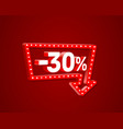 banner 30 off with share discount percentage neon vector image vector image