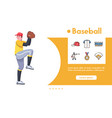banner baseball pitcher and linear icon set vector image vector image