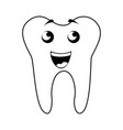 black icon tooth cartoon vector image vector image