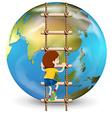 Boy climbing up ladder vector image vector image