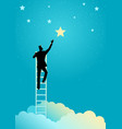 businessman reach out for the stars vector image vector image