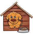 cartoon dog comic animal character in doghouse vector image vector image