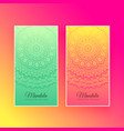 colorful mandala design vertical cards vector image