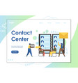 contact center website landing page design vector image vector image