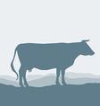 Cow silhouette graze in the field landscape sky vector image