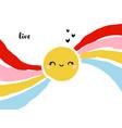 cute and funny kawaii shining sun with rainbow vector image vector image