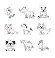 cute animals cartoons icons vector image