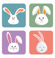 cute rabbits set heads icons vector image vector image