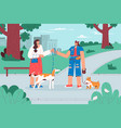 dog walker getting doggy from owner vector image