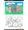 elephants animal characters group color book vector image vector image
