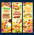 fast food burgers pizza and desserts menu vector image vector image