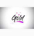 gold handwritten word font with vibrant violet vector image vector image