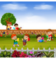 happy children learn together with their friends vector image vector image