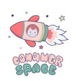 japanese kawaii cat travels in space and the vector image vector image