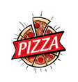 logo a sketched pizza on vector image vector image
