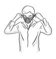 Man wearing mask sketch doodle hand