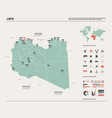 map libya high detailed country map with vector image vector image