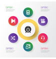 media icons set collection of finish randomize vector image vector image