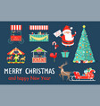 merry christmas icons set on vector image