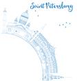 Outline Saint Petersburg skyline vector image vector image