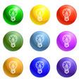 pencil bulb icons set vector image vector image