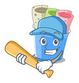 playing baseball rolled ice creams in cartoon cups vector image vector image