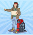 pop art smiling hitchhiking man with backpack vector image vector image