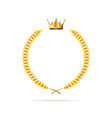 realistic detailed 3d golden crown and laurel vector image