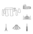 sights of different countries outline icons in set vector image vector image
