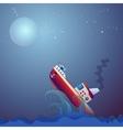 Steamship the storm ocean vector image vector image