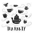 tea party bw vector image vector image