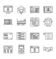 technology and business thin line icons set vector image vector image