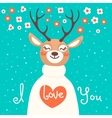 Valentine card with deer and declaration of love vector image