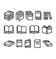 variety books icons set vector image vector image
