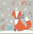 winter background with fox vector image