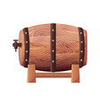 wooden brown barrel on white vector image vector image