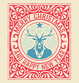 xmas vintage greeting card with deer vector image