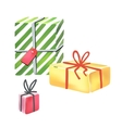 Colorful gift boxes on white background vector image