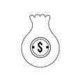 dotted shape bag with dollar symbol to save cash vector image