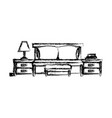bed with nightstand blurred silhouette on white vector image vector image