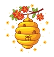 Beehive weighs on a branch with flowers vector image
