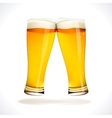 Beer splashing two glasses vector image vector image