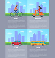 bike and moped car and bus vector image vector image