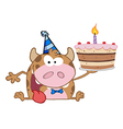 Birthday cow cartoon vector image vector image