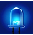 Blue luminous bright Light Emitting Diode vector image vector image