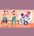 bodybuilding gym nutritions composition vector image