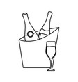 bucket with drinks icon vector image vector image