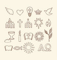 christian symbols and icons drawn by hand vector image